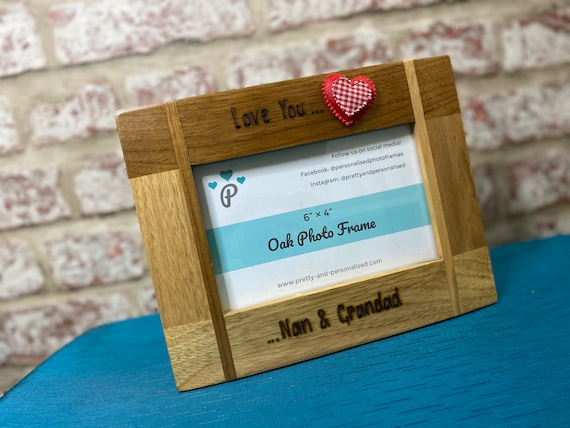 """I Love my.. Grandad Nanny Wooden Photo Frame 6""""x4"""" Personalised We Love Our"""