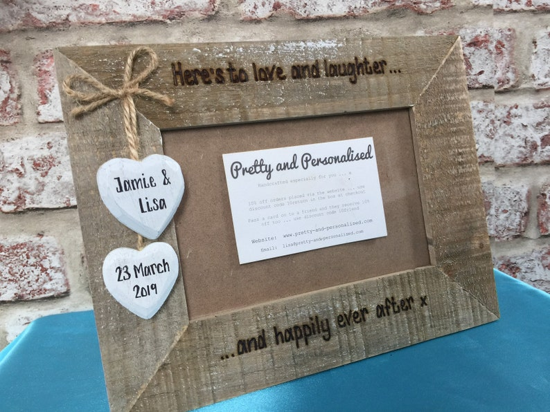 Personalised driftwood style photo frame 6x4 for wedding  anniversary Here/'s to love and laughter and happily ever after Engraved wooden