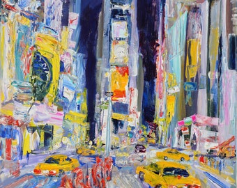 Original Artwork, Painting, Impressionist, Acrylic on Canvas, Times Square at 3:42 AM