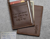 Handwriting Wallet for Dad, Leather Front Pocket Wallet for Father, Daddy Wallet from Kids, Engraved Leather Wallet, Christmas Gifts For Dad