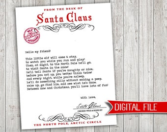 elf on a shelf welcome letter instant digital download printable