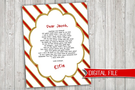 picture about Elf on the Shelf Goodbye Letter Printable called Elf upon a Shelf GOODBYE letter - immediate electronic down load printable