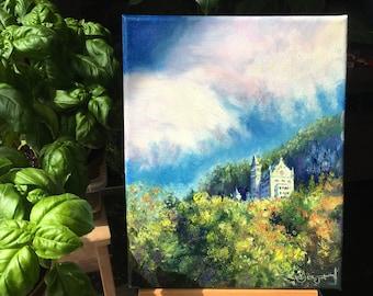 "Mini oil painting - Mountain Castle - 8 x 10 """