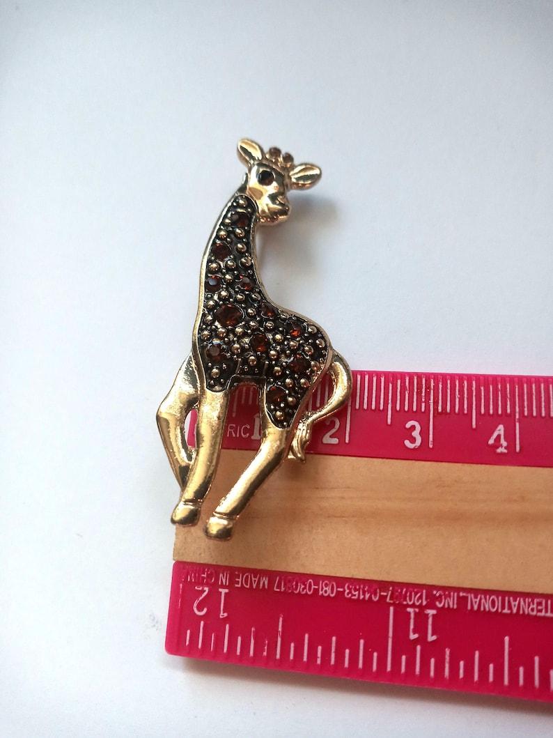 Gold tone and Brown Rhinestone Giraffe Brooch Pin  Lapel Pin Brooch  Vintage Jewelry  Animal Sweater Brooch