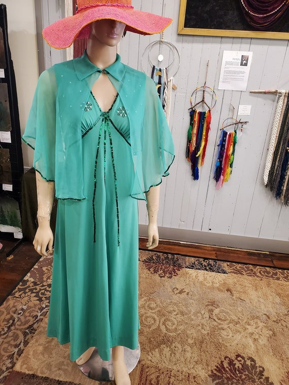 Vintage Green Chiffon Dress with Cape