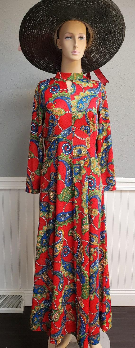 Vintage 1970's Paisley Dress-Small