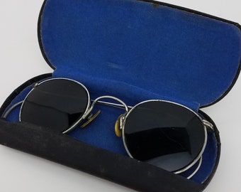 22df9573634 1920s Vintage 12k gold filled DARK Tinted Wire Frame Sunglasses RARE  OBSCURE Summer Sun