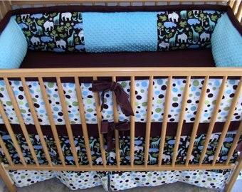 CUSTOM Crib Bedding Set - 5 PIECE - Design & CHOOSE Your Own *Or Zoo Blue Brown Crib Set