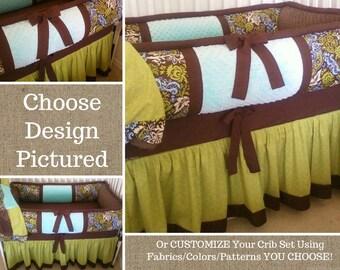 CUSTOM Crib Bedding Set - Gender Neutral Crib Set - Nursery Baby Bedding Set 5 PIECE - Blue Brown Green Unisex Design & CHOOSE Your Own