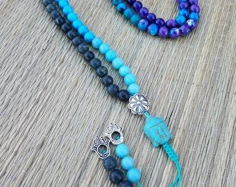 Blue and Purple 108 bead Mala Buddhist prayer necklace