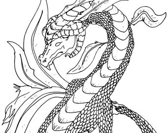 The Ground Dragon   Black, Sepia and Grey lined PDF Colouring Page