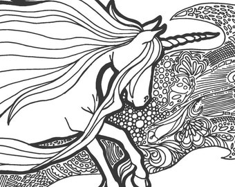Unicorn Tangle   Black, Sepia and Grey lined PDF Colouring Page