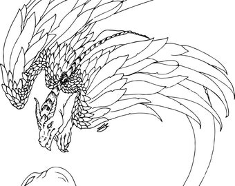 Feathered Dragon   Black, Sepia and Grey lined PDF Colouring Page
