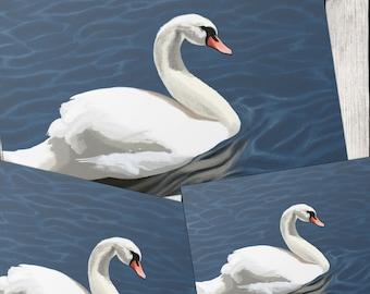 Animal DIGITAL PRINT Elegant Swan Digital Painting print at HOME, nature prints