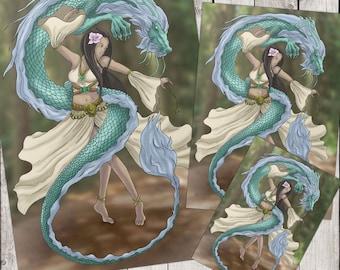 Fantasy Art DIGITAL PRINT Dragon Dancer Digital Painting print at HOME A4, A5 and A6 Sizes