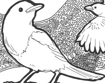 Two Magpies Tangle   Black, Sepia and Grey lined PDF Colouring Page