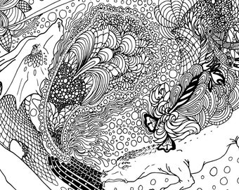 Two Dragons Tangle   Black, Sepia and Grey lined PDF Colouring Page