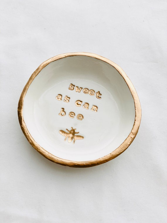 Bee Happy Ring Dish Gold Bumble Bee Jewelry Dish Meant to bee Wedding Gift Bridesmaids Gift Trinket Dish