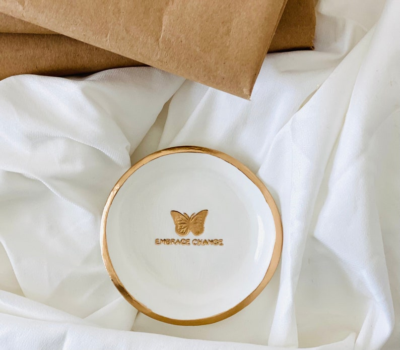 White /& Gold Butterfly Jewelry Dish Gift for Her Ready to ship Embrace Change Gold Ring Dish Butterfly Trinket Dish