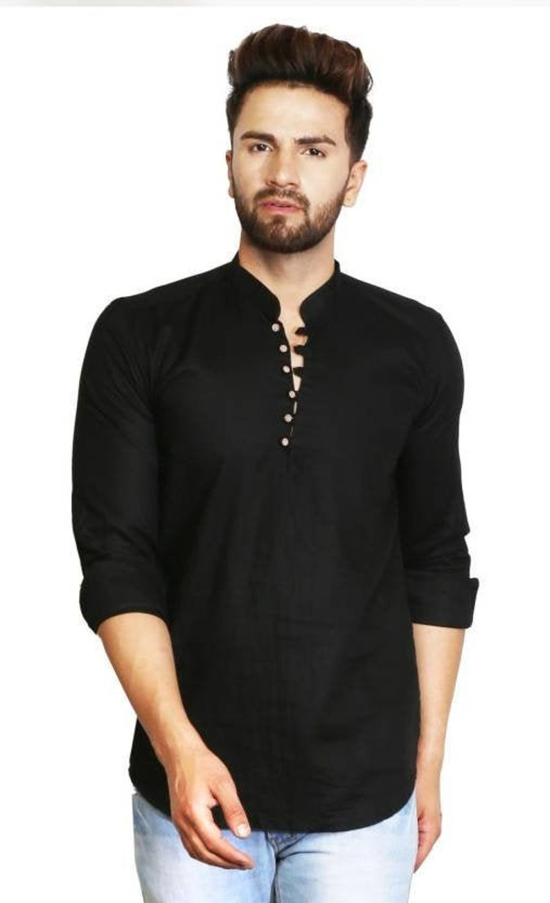 Men's 100/% Cotton Indian Kurta Shirt Big and tall Black Solid Loose Fit 6XL 7XL