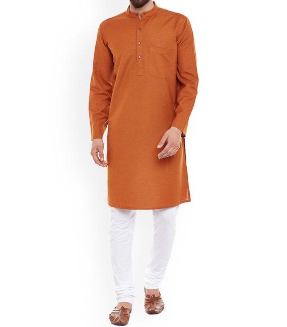 Indian 100/% Cotton Men's Shirt Kurta loose fit Floral Print Orange Color