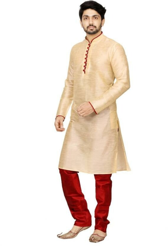 Indian Solid Cream Color Men\'s Silk Shirt Party Wear Nice Kurta Wedding  Wear Men\'s Clothing Plus Size