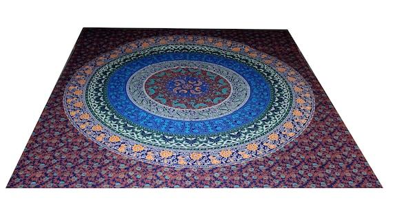"""Fait main en coton 100 % indien/grand lit feuille imprimé Floral taille 82 """"X 90»"""