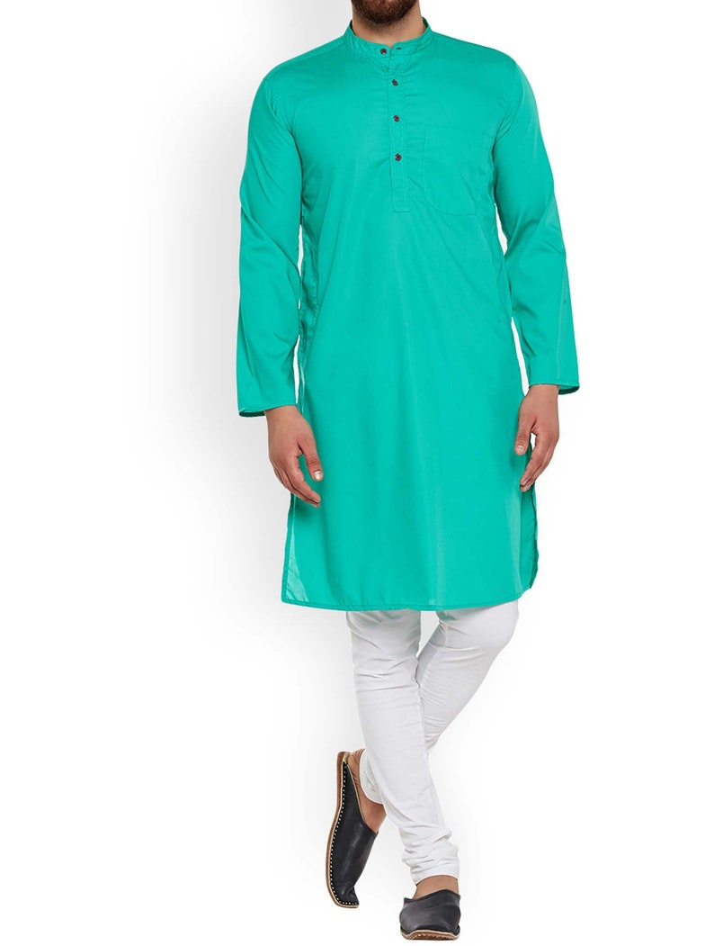 Indian Men/'s 100/% Cotton Shirt Wedding Wear Patchwork Kurta Teal Color Plus Size