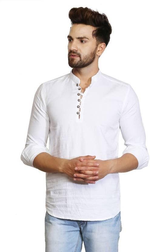 """Mans Indian Shirt 100/% Cotton Kurta Plus Size Maroon Color Solid Plain L-42/"""""""