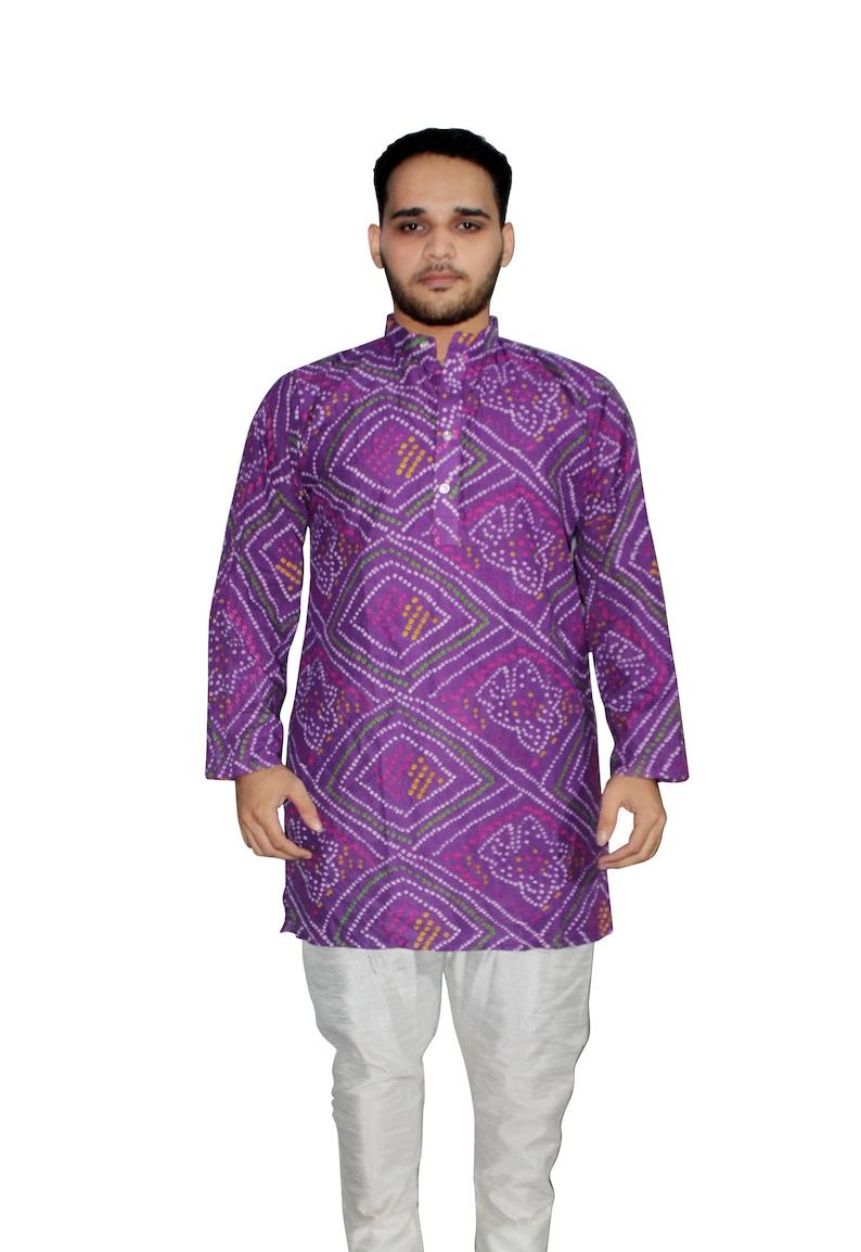 Indian Cotton Men/'s Handmade Casual Cotton Kurta Plus Size Solid Purple Shirt