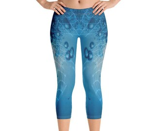 90c0ba8dbdf05 Wave Capri Leggings, Blue Water Bubbles Leggings, Surfing Leggings, Swim  Leggings, UV protection leggings, Active wear, Water Sports Legging