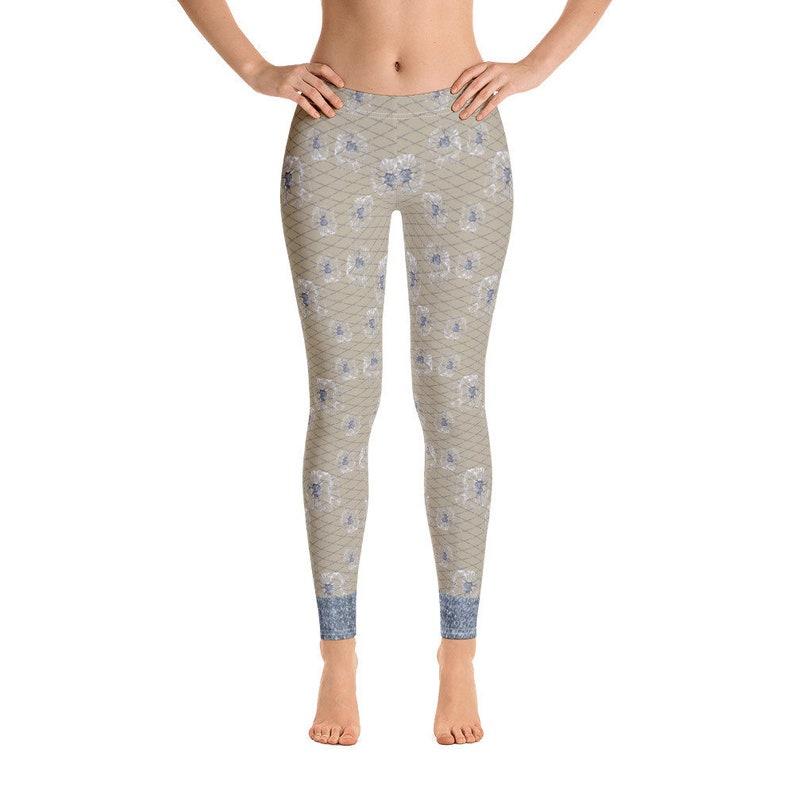 d0b8de16419e9 Lace Leggings Blue Jean Workout tights Women's | Etsy