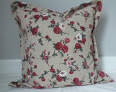 Rose patterned linen cotton cushion pillow cover