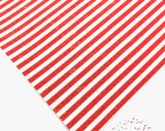 """CANDY STRIPE - Red /Fine Glitter Fabric/1 sheet /8x11""""/A4/Faux Leather/Hair bow leather/diy bow/hair bow/4th of July/red & white stripe"""
