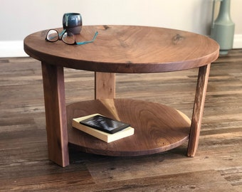 Round Wood Coffee Table Etsy