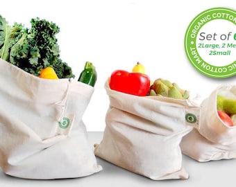 Reusable Muslin Cotton Produce Bags - Washable Bulk Bin Bags - Organic Cotton - Cloth Bag with Drawstring