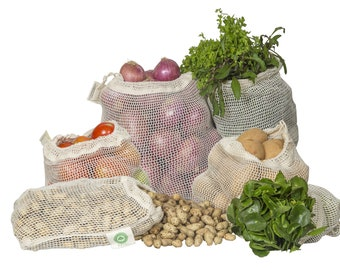 Organic Cotton Mesh Produce Bags - Reusable, Washable & GOTS Certified Mesh Grocery Bags - Reusable Vegetable Bags - Tare Weight on Label