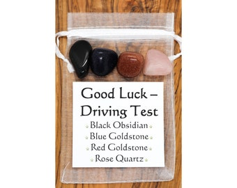 Luck For Your Driving Test Crystal Gift Obsidian Blue Red Goldstone Rose Quartz