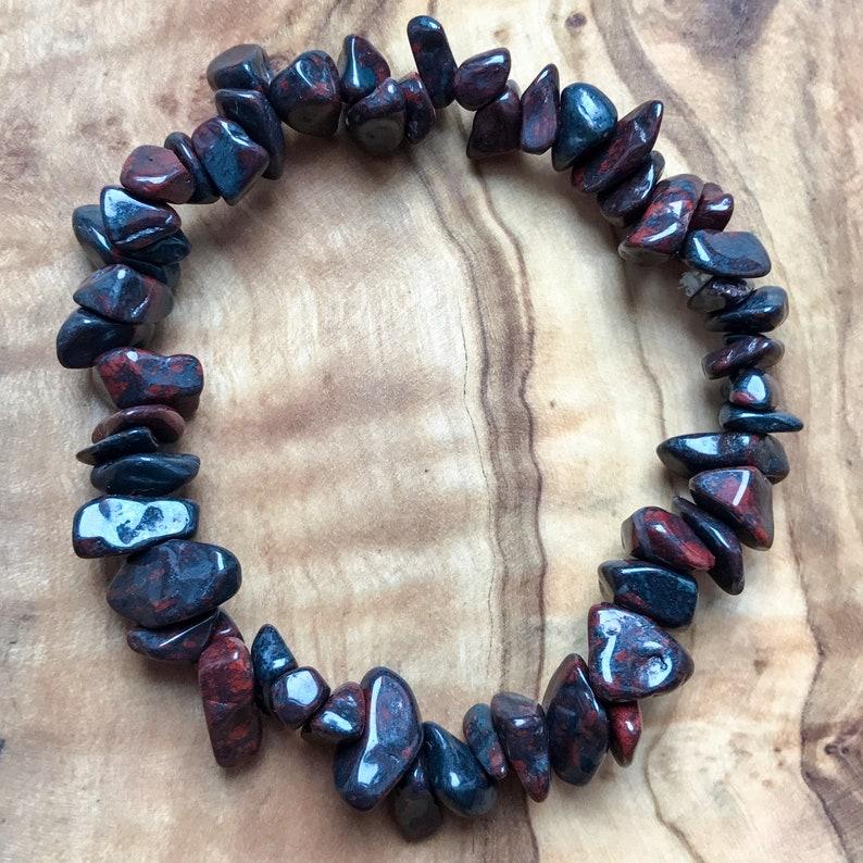 Bloodstone Gem Chip Bead Crystal Bracelet 7