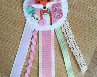 Birthday badge rosette with Fox fabric for age 5 birthday