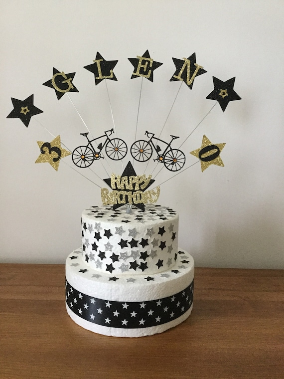 Superb Personalised Bike Birthday Cake Topper Party Decoration All Etsy Funny Birthday Cards Online Overcheapnameinfo