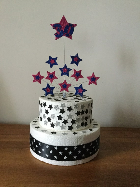 Birthday Cake Decoration Balloon And Stars 1st 2nd 3rd 18th 21st 30th All Ages