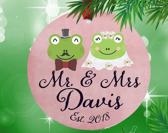 1st Christmas, 1st christmas married ornament, 1st christmas ornament married, Mr and Mrs Ornament,  Frog ornament, Christmas tree ornament