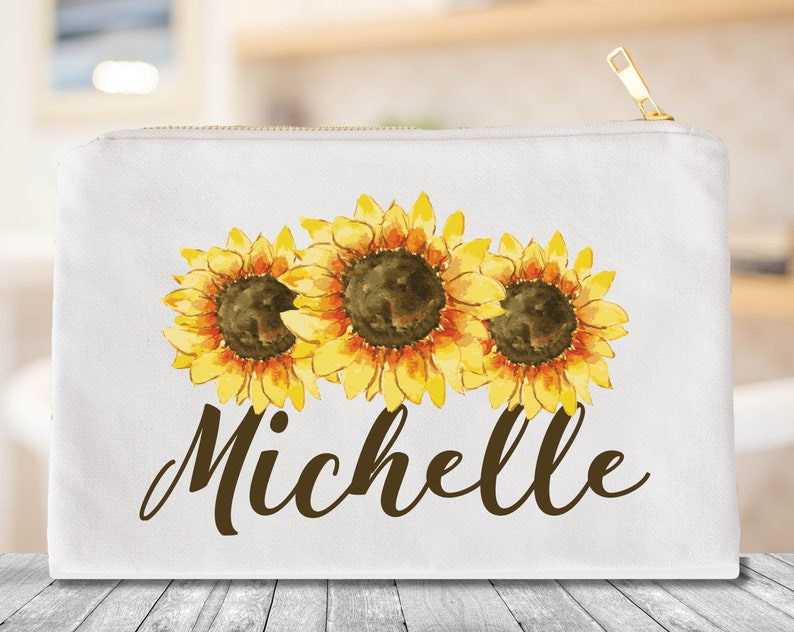 6c6b98af1309 Sunflower cosmetic bag, Sunflower makeup bag, Sunflower wedding gift,  Personalized cosmetic bag, Personalized cosmetic bag bridesmaid,