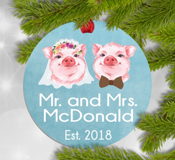 Christmas Pigs.Wedding Pig Pig Ornament Christmas Pig Ornament Wedding Gift Ornament Funny Wedding Gift For Couple Mr And Mrs Ornament Personalized