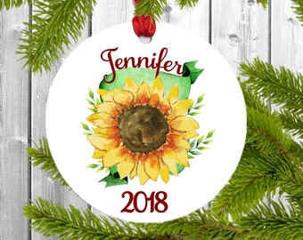 sunflower ornament, sunflower gift, sunflower, personalized name ornament, Christmas ornament personalized, gift for her personalized