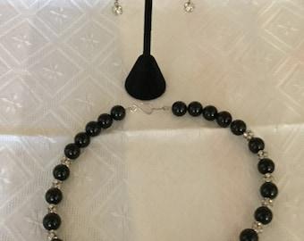Black Onyx Swarovski Roundel Necklace and Earring Set