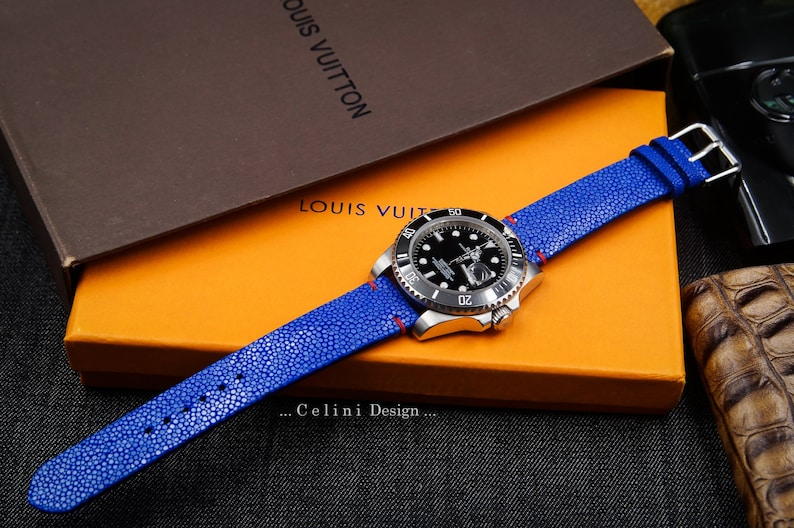 95a4d6859 Blue Stingray Leather Handmade Watch Strap Watch Band for 20mm   Etsy