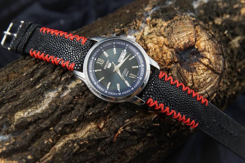 Bande Montre Sangle Galuchat Bracelet En CuirDe Noir 22mm WrdBoCxe