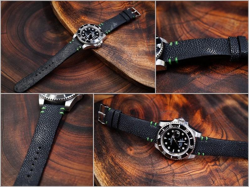 77f999f3c Black Stingray Leather with Green Stitching Handmade Watch   Etsy